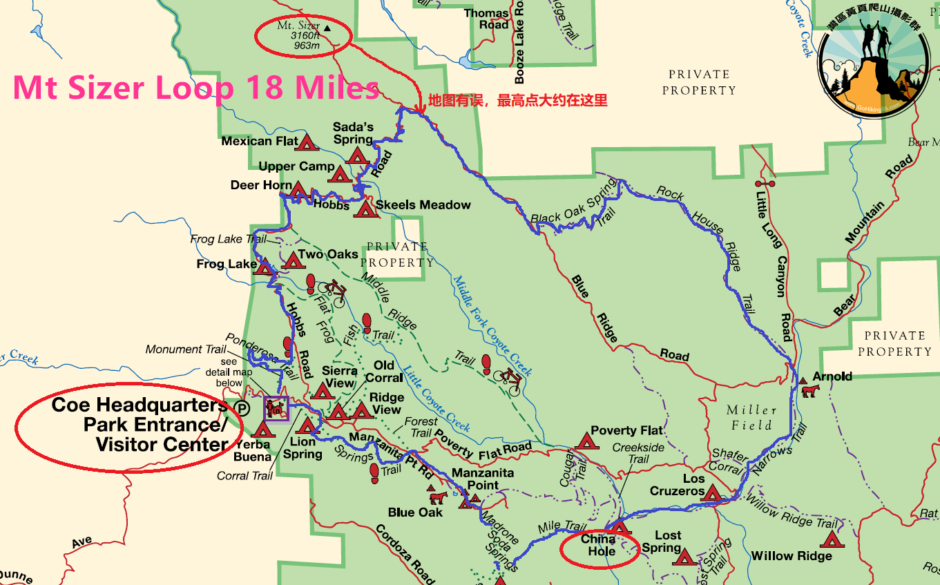 Mt Sizer Loop_trail map